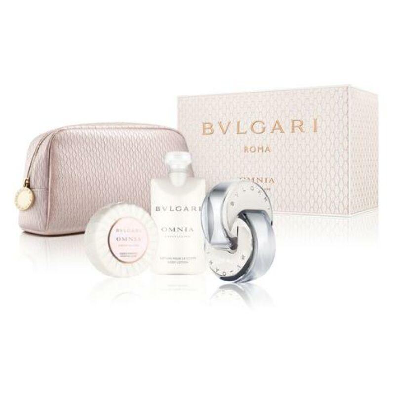 Bvlgari Omnia Crystalline EDT 65ml + 75ml Testápoló + 75g szappan + Neszeszer táska Szett Hölgyeknek